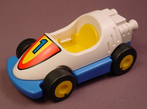 Playmobil 123 White & Blue Race Car With A Yellow Interior & Yellow Wheels, 6711, Racing, Racer