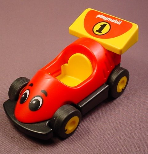 Playmobil 123 Red & Yellow Race Car With A Yellow Interior & A Face Pattern, 6718, Racing, Racer