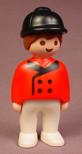 Playmobil 123 Adult Male Horse Rider Figure In A Red Jacket With Black Trim & A Riding Helmet, 6550