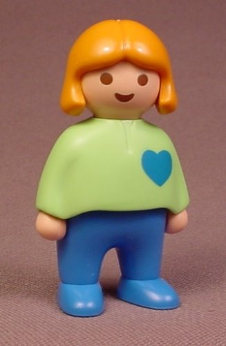 Playmobil 123 Female Girl Child Figure In Blue Pants & A Green Shirt With A Blue Heart, 6551
