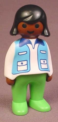 Playmobil 123 African American Adult Female Veterinarian Figure In A White Shirt With A Blue Vest