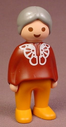 Playmobil 123 Adult Female Grandmother Figure With Gray Hair In A Bun & A Reddish Brown Sweater