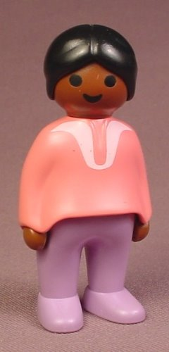 Playmobil 123 African American Adult Female Mother Or Mom Figure With A Pink Shirt, 6632