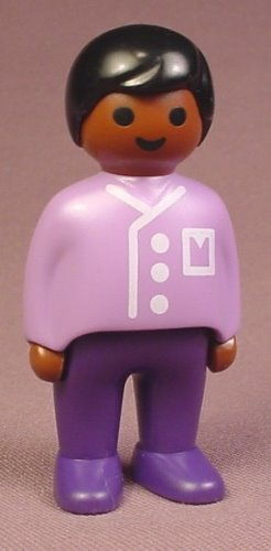 Playmobil 123 African American Adult Male Father Or Dad Figure In A Purple Shirt With Pockets, 6632