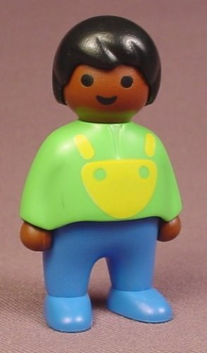 Playmobil 123 African American Male Boy Child Figure In A Green Shirt With A Yellow Bib, 6632