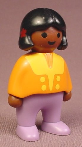 Playmobil 123 African American Female Girl Child Figure In An Orange Shirt With Yellow Trim, 6632