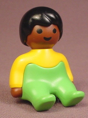 Playmobil 123 African American Baby Figure In A Yellow Shirt & Green Pants, 6632, Sitting Pose