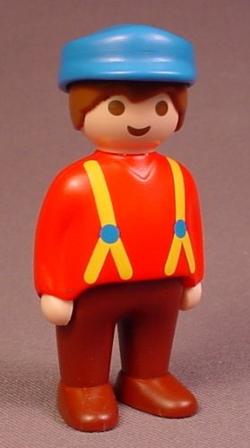Playmobil 123 Adult Male Farmer Figure With A Blue Hat & Yellow Suspenders Over A Red Shirt, 6740