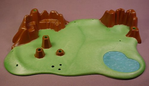 Playmobil 4450 Ground Base Plate With Dark Brown Rocks & A Pond, 12 1/2 Inches Long, 30 89 5922