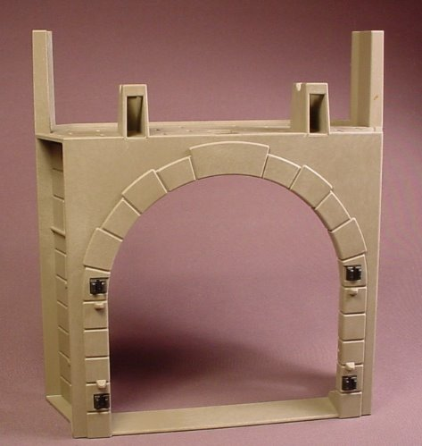 Playmobil Gray Castle Wall With A Large Arched Doorway & Towers On Each End, 14 Inches, 3268 5783