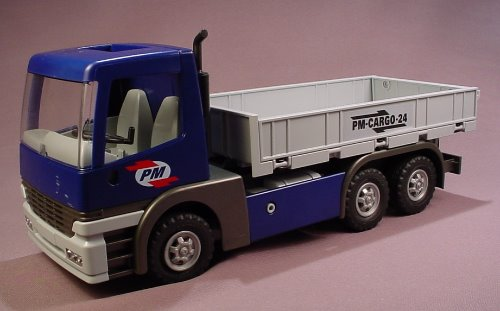 Playmobil 5255 Cargo Semi Truck With Fold Down Bed Sides, 13 Inches Long, The Cab Tilts Forward