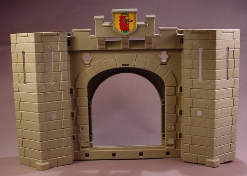 Playmobil Gray Castle Wall With An Arched Doorway & Towers On Each End, 14 Inches Long, 3268 5783