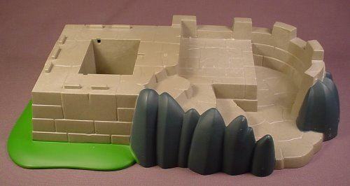 Playmobil Gray Castle Base Walls Base Plate With Steps Rocks & Grass, 13 1/2 Inches Long, 4133 5863