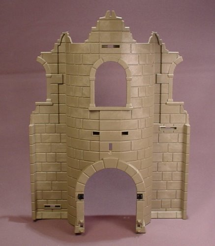Playmobil Gray Castle Or Fortress Ruin Wall With Arched Door & Window Openings, 4435, 30 22 8780