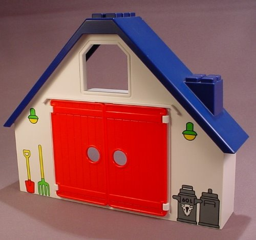 Playmobil 123 Animal Farm Barn Building With Red Doors That Open, 6740