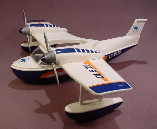 Playmobil White & Blue Sea Plane, Flying Boat, PBY, Missing The Tail Wing, 16 Inch Wing Span, 5920