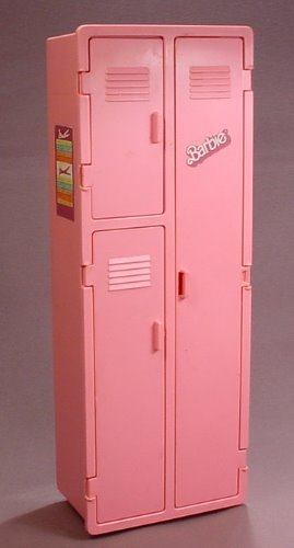 Barbie 1984 Vintage Workout Center Pink Locker With 3 Doors That Open And A Mirror On The Back