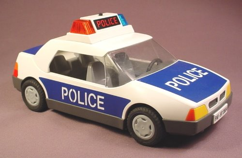 Playmobil Blue & White Police Car With Flashing Red & Blue Lights, 3085, Roof Is Removable