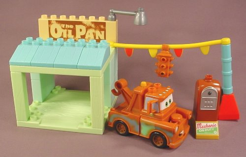 Mega Bloks Disney Pixar Cars The Oil Pan Gas Corner Garage Set 7768 With Mater Complete 26 Piece Rons Rescued Treasures