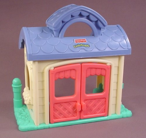 Fisher Price Little People 2003 Playtime Pals House Building With Pink Doors That Open B3004