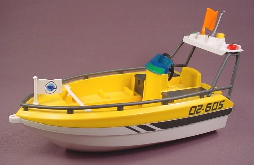 Playmobil Yellow & White Whale Watching Boat Or Ship, 10 Inches Long, 5920