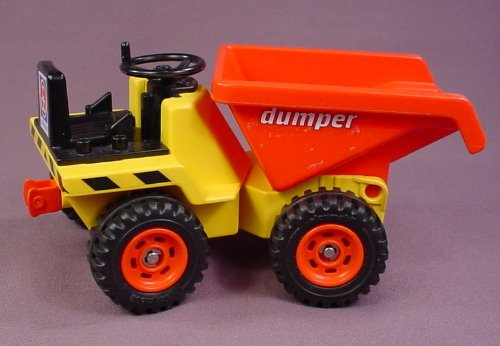 Playmobil 3756 Yellow & Red Dump Truck Dumper, 8 1/2 Inches Long, The Bucket Is In The Front
