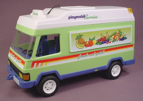 Playmobil 3204 Green Grocery Delivery Van With A Removable White Roof, 10 1/2 Inches Long