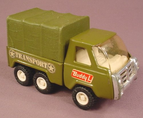 Buddy L Army Transport Truck, Pressed Metal & Plastic, Military Green, 5 Inches Long, Made In Japan