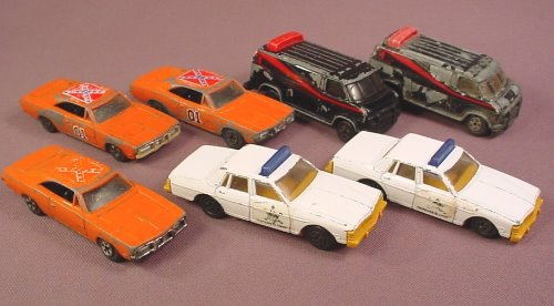 Ertl Lot Of TV & Movie Diecast Vehicles, Dukes Of Hazzard, A-Team, Lots Of Wear, For Restoration