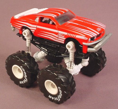 Metal Maxx Mega Shocks 1969 Ford Mustang Monster Truck, Diecast Metal With Flexible Suspension