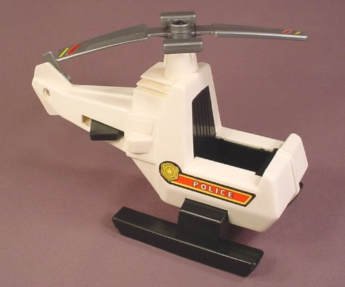 Fisher Price Husky Helper White Helicopter With Gray Rotor Blades That Spin  When Lever Is Pressed