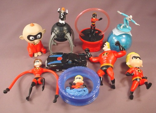 Disney The Incredibles Complete Set Of 2004 McDonalds Figures & Toys