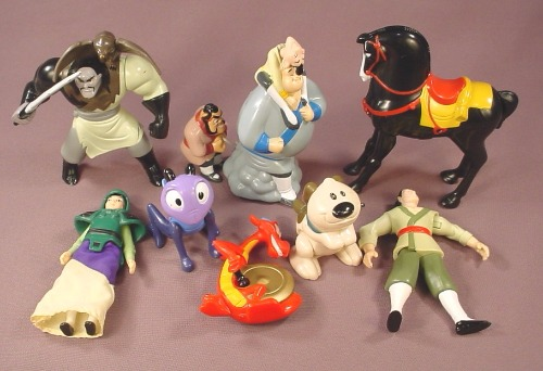 Disney Mulan Movie Complete Set Of 8 Figures & Toys, 1998 McDonalds