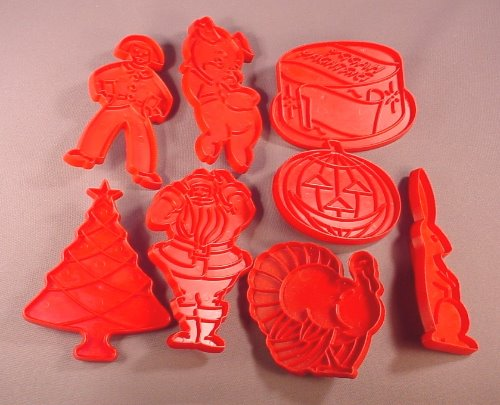 Tupperware Vintage Set of 8 Red Cookie Cutter Christmas Easter Birthday