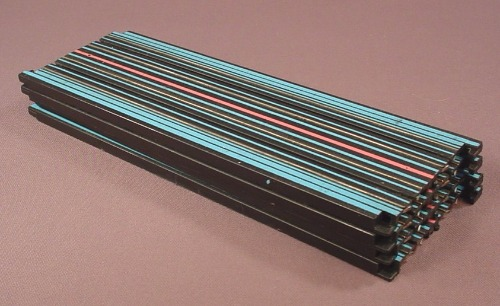Aurora AFX Lot Of 4 #2557 9 Inch Straight Transition Tracks With Blue & Pink Lines, 1982