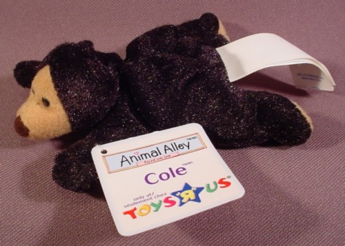Mcdonalds 2001 Animal Alley Cole The Black Bear Plush Toy With Paper