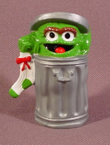 Sesame Street Oscar The Grouch With Party Hat Hard Plastic Cake Topper Figure 2