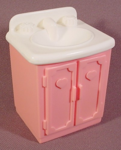 Fisher Price Dream Dollhouse 1993 Pink Vanity With White Sink