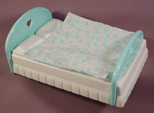 Fisher Price Dream Dollhouse 1993 Aqua White Double Bed Attached