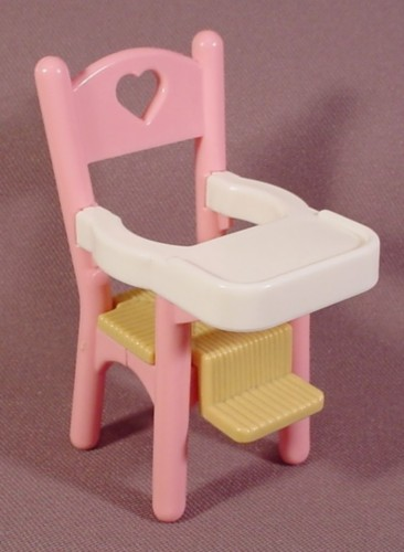 Fisher Price Dream Dollhouse 1993 Pink White Highchair With Brown