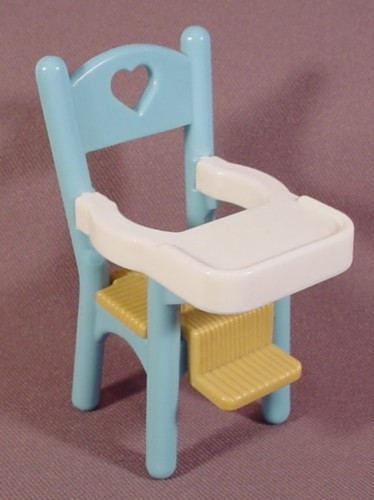 Fisher Price Dream Dollhouse 1993 Blue White Highchair With Brown