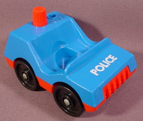 Fisher Price Vintage 1 Seat Police Car, Blue Top, Red Base