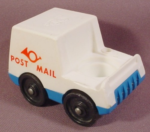 "Fisher Price Vintage Mail Truck, Red ""Post Mail"" & Horn On The Side, Closed Roof, 127 Mail Truck"
