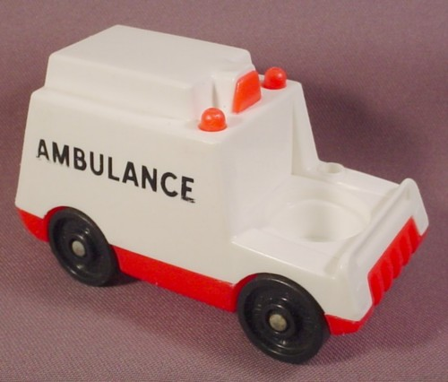 Fisher Price Vintage White Ambulance With Red Base Fisher
