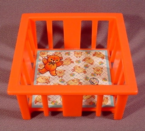 Fisher Price Vintage Pink Playpen Crib With Litho, 761 Play Family Nursery, 1972, Little People ...