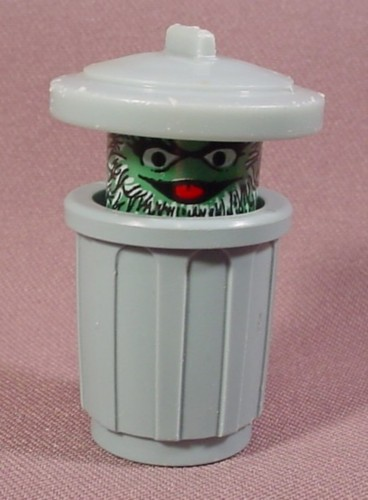 Fisher Price Vintage Oscar The Grouch In Trash Can 938 939 Sesame Street Clubhouse