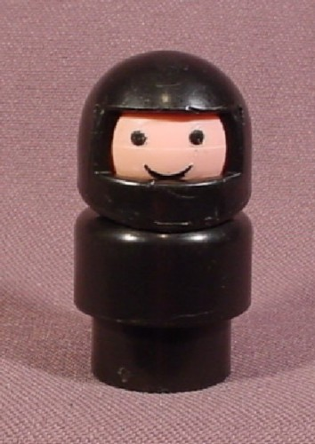 Fisher Price Vintage Race Car Driver In Helmet (A), Black Body, 347 396  2350 2450 2351 Indy Racer
