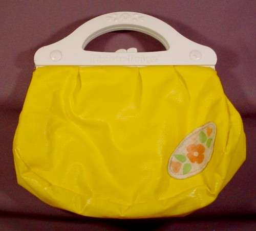 Fisher Price Yellow Vinyl Purse With White Handles, #128 My Pretty Purse Set, 1982-1989