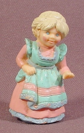 "Fisher Price Precious Places Mom Figure, Pink Dress, Turquoise Apron, 1 7/8"" Tall, 5200"
