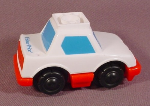 Fisher Price Flip Track White Car With Blue Windows Amp Red